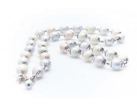 Дамски комплект от колие и гривна,изработен от бижутерска сплав и изкуствени перли от бижутерска смола