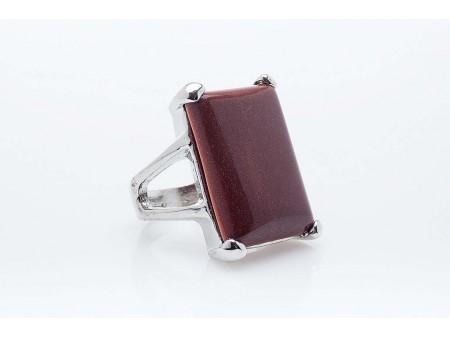 Дамски пръстен от бижутерска сплав и естествен камък