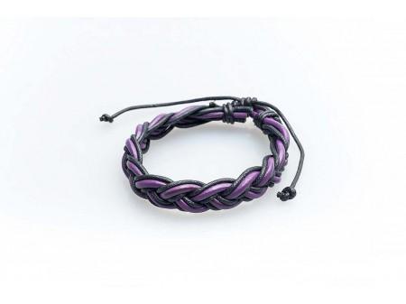 Дамска гривна изработена от цветна кожена лента и памучен шнур
