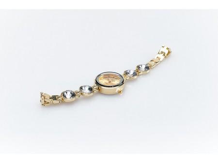 Дамски часовник и верижка от метална сплав със златисто покритие