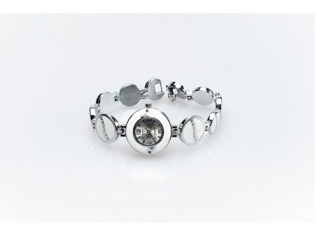Дамски часовник и верижка от метална сплав със сребристо покритие