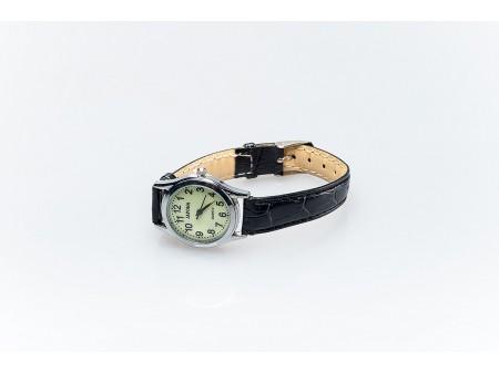 Дамски часовник от метална сплав със сребристо покритие и кожена каишка